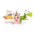 dog rhino unicorn - cartoon characters vector image