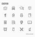 education and learning thin line icons set vector image vector image