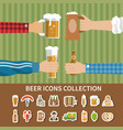 flat beer icons collection vector image vector image
