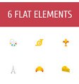 flat icons dessert palette trombone and other vector image