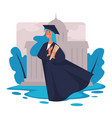 graduation girl in academic hat and mantle with vector image