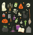 halloween carnival symbols icons set vector image