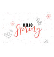 hand lettering hello spring greetings label vector image