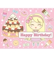 Happy birthday card in kawaii style vector image vector image