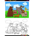 happy dogs animal characters group color book vector image vector image