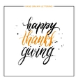 happy thanks giving lettering with black splashes vector image