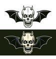 horned devil skull with bat wings in two styles vector image vector image