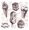Ice Cream And Cakes Sketch Set vector image vector image