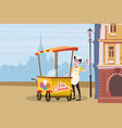 ice cream seller cart vector image