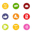 industrial question icons set flat style vector image vector image