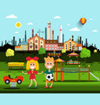 kids on playground in park with city factory on vector image vector image