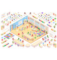 kindergarten constructor isometric elements set vector image vector image