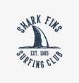 logo design shark fins surfing club est1985 vector image vector image