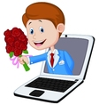 Man cartoon with rose come out from laptop vector image