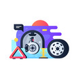 modern wheel replacement process in car service vector image