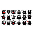 monster black silhouette super big icon set happy