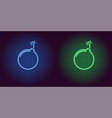 neon icon of blue and green bomb vector image vector image