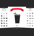paper cup with drinking straw icon vector image