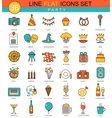 Party flat line icon set Modern elegant vector image vector image