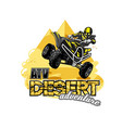 quad bike off-road atv logo desert adventure vector image vector image