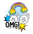 rainbow with clouds and stars fashion patch vector image vector image