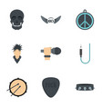 rock festival icon set flat style vector image vector image