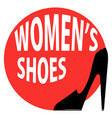 round sign shop womens shoes vector image vector image