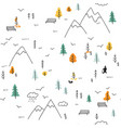 seamless pattern with man walking in mountains vector image