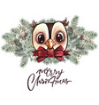 set of christmas woodland cute forest cartoon bear vector image vector image