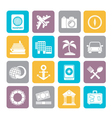 Silhouette Tourism and Travel Icons vector image vector image