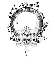 skull spiderweb and ivy vector image