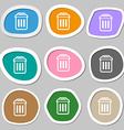 trash icon symbols Multicolored paper stickers vector image