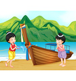 Two Thai girls greeting on the beach vector image