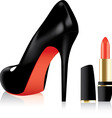 vector high heel shoe and a lipstick vector image