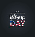 veterans day hand lettering with usa flag vector image vector image