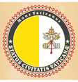 Vintage label cards of Vatican City flag vector image