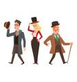 vintage victorian cartoon gents retro people vector image vector image