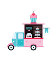 food truck fast food cafe delicious sweet desserts vector image
