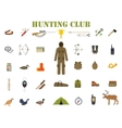 Hunting equipment kit hunting rifle knife suit vector image