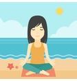 Woman meditating in lotus pose vector image