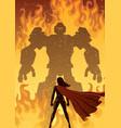 super heroine versus robot vector image