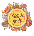 bbq and grill hand drawn background with steak vector image vector image