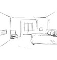 bedroom modern interior drawing isolated on vector image