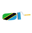 brush stroke with tanzania national flag isolated vector image