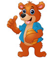cartoon bear holding honeycomb vector image vector image