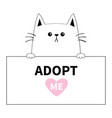 cat head face hanging on paper board adopt me vector image vector image