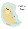 cute funny otter floating in river and funny text vector image vector image