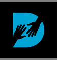 d letter on helping hand logo vector image