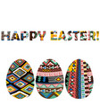 easter greeting card with ethnic motifs eggs vector image