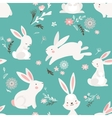 Easter seamless pattern design with bunnies vector image